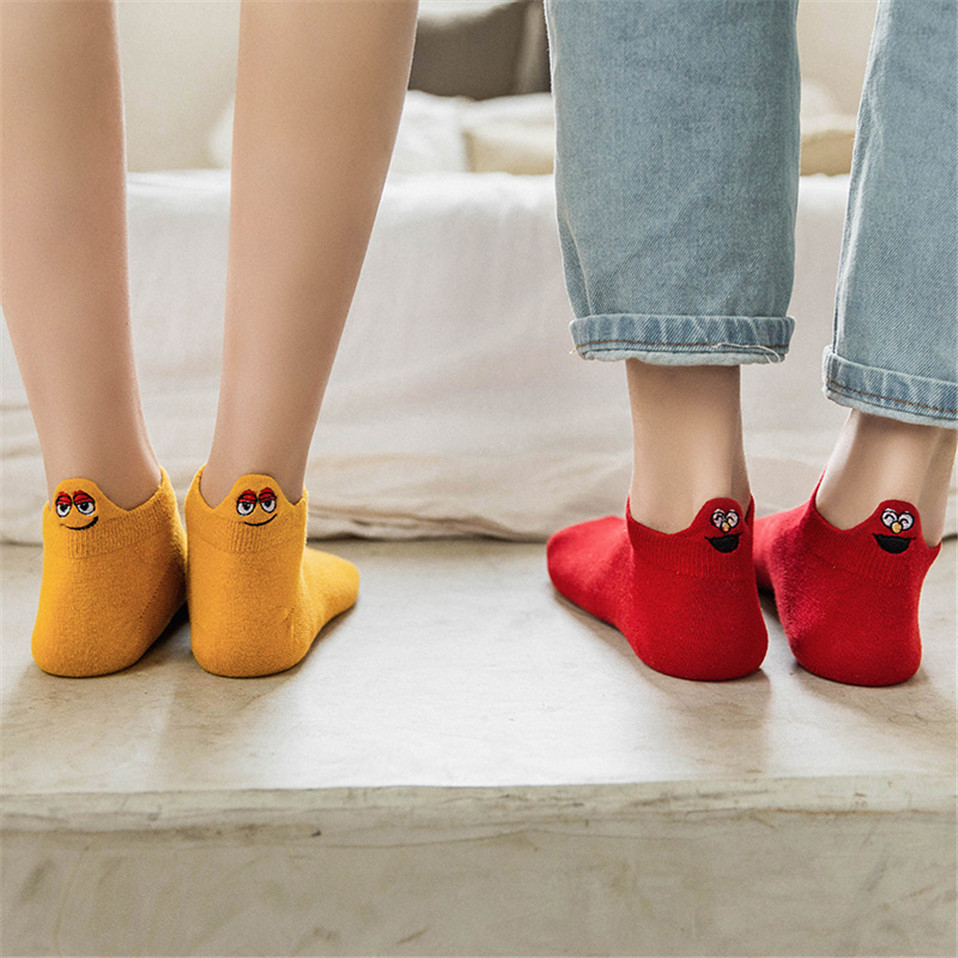1 Pair Kawaii Women Socks Happy Fashion Ankle Funny Socks Women Cotton Embroidered Expression Candy Colorl Socks
