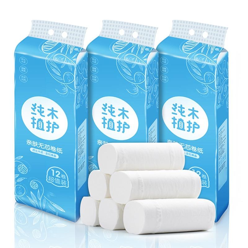 12 Roll Toilet Paper Bulk Roll Bath Tissue Bathroom White Soft 4 Ply Thicken For Home New IK88