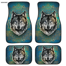 INSTANTARTS Bohemian Wolf Design Floor Mat for Cars Washable 4pcs/Set Car Floor Mats Custom Rubber Floor Mats for Cars Front custom rubber car floor mats for mitsubishi asx waterproof durable carpets for asx