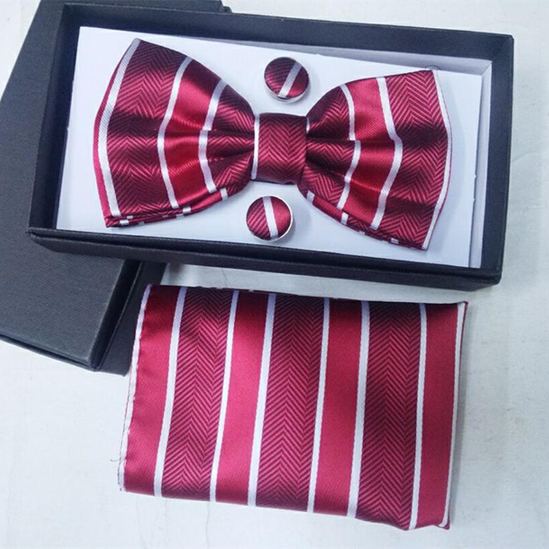64 Style Bow Tie And Handkerchief Set Mens Silk Ties Floral Plaid Gift Man Wedding Red Striped Navy Blue Jacquard Woven Solid