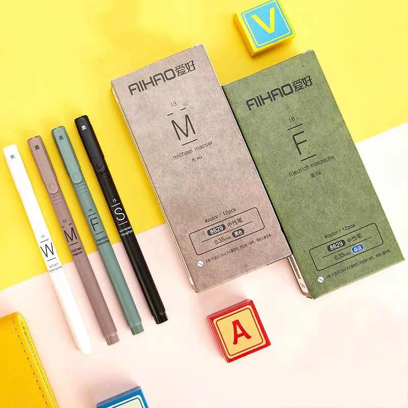 4 Pçs/set Simples Caneta Neutro Caneta Gel 0.35 milímetros de Tinta Preta e Azul Para As Crianças Da Escola Escritório Escrita produtos de Papelaria Coreano