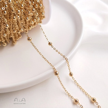Customized 14K Gold-Plated Color Retention Chain Flat O Clip Bead Necklace Partition Bead Necklace Semi-Finished Chain DIY