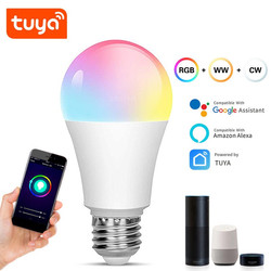 Tuya Wifi LED Lamp 15w E27/B22 Smart Light Bulb RGB+C+W Dimmable Bulb Voice Control Work with Alexa Echo Google Home Assistant