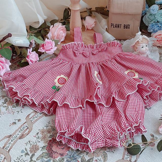 Фото детское летнее короткое платье в стиле «лолита» с подсолнухами