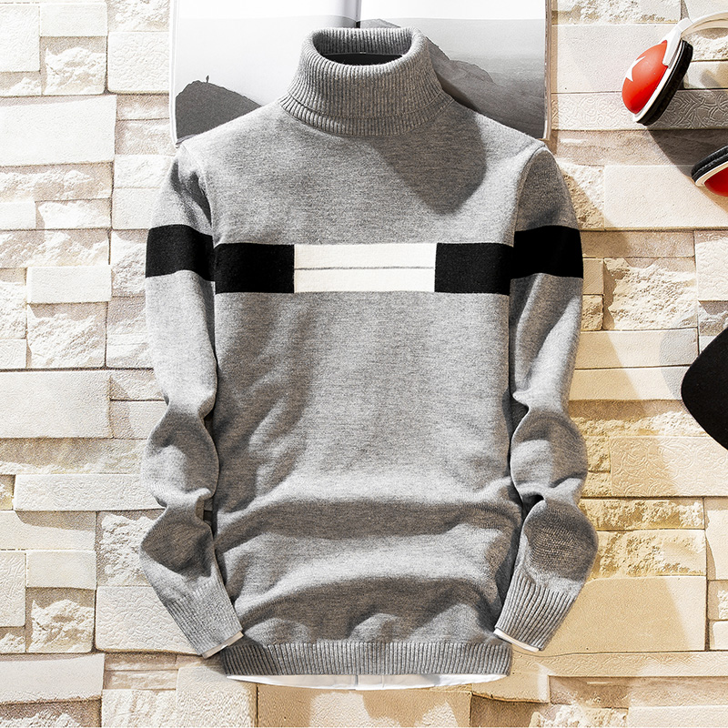 NEW Autumn New Men's Turtleneck Sweaters Pullover Male Solid Color Slim Fit Turtleneck Sweater Tops Knitted Pullovers M-3XL