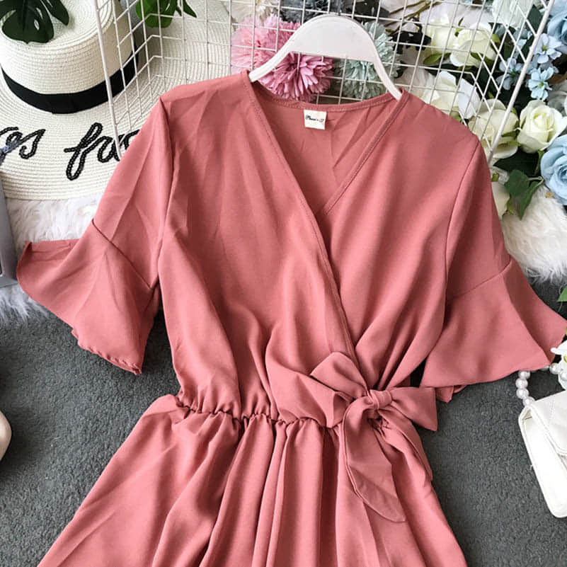H81f91c65c644451c8aff7833fa2c5333L - Candy Color Elegant Jumpsuit Women Summer Latest Style Double Ruffles Slash Neck Rompers Womens Jumpsuit Short Playsuit