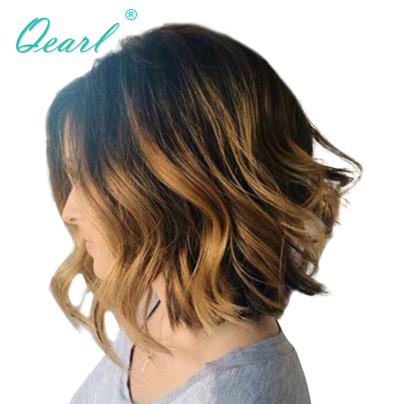 Ombre Highlights Color Short Bob 13x4/13x6 Lace Front Wig Preplucked Malaysian Remy Human Hair Wigs Wavy Qearl