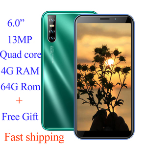 Global smartphones F2 Pro 4G RAM 64G ROM Android mobile phones quad core 13mp Face ID unlocked celulares 3G WCDMA WIFI 2SIM IPS