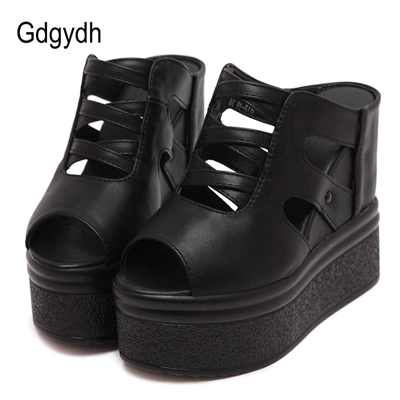 Gdgydh Open Toe Platform Sandals Wedges Shoes For Women American Summer Shoes Super High Heels Hollow Out Black Leather 2020 New