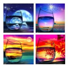 Glass Sunset 5D Full Drill Diamond Painting Kits Dotz Arts Set Supplies Adult Landscape Mountain Cabin Lake Wall Decor