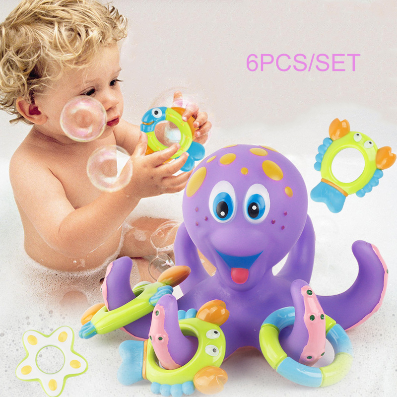 Learning Educational Water Toy Soft Octopus Baby Bath Toys Kids Throwing Rings Set Parent-Child Interactive Toys