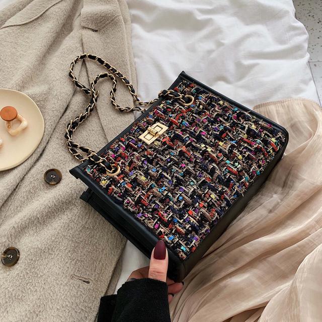 Elegant Female Chain Tote Bag 2019 Winter Fashion New High Quality Woolen Women's Designer Handbag Contrast color Shoulder Messenger Bag