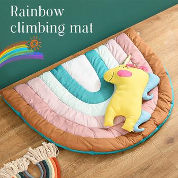Mata do zabawy dla dzieci Rainbow Kids dywan przedszkole dla dzieci mata dla dzieci duży antypoślizgowy bawełniany koc dywan dywaniki mata dla dzieci wystrój pokoju tanie i dobre opinie COTTON CN (pochodzenie) Unisex SOFT Sport 0-12 miesięcy 13-24 miesięcy 3 lat 3 lat