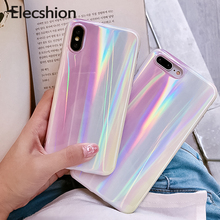 Aurora Laser Phone Case For iPhone 6 7 8 Plus 6s X XR Soft Tpu Covers XS Max Rainbow Pink Protective Glossy Coque