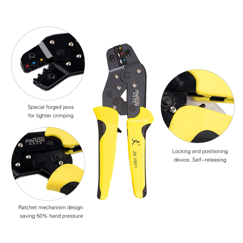 Tools : PARON Crimping Tool Wire Crimpers Wire Terminals Crimping Tool Insulated Ratcheting Crimper Kit 500PCS Spade Connectors Pliers