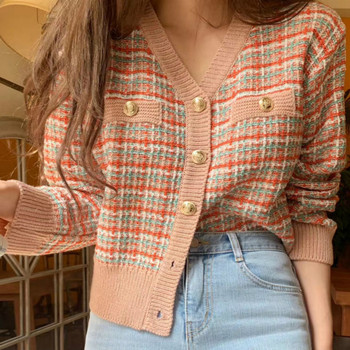 Women Cardigan Vintage Stylish Colorful Plaid Short Knitted Sweater V-neck Long Sleeve English Style Outerwear Splicing Clothes slimming v neck color splicing patch pocket long sleeves cardigan for men