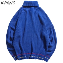 ICPANS Turtleneck Sweater Men Casual Loose Japanese Style Hip Hop Streetwear Pullovers For Man 2019 Spring