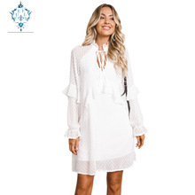CUERLY summer boho dress women solid V-neck chiffon vestidos  2019 flounce long sleeve new knee-length loose thin dresses
