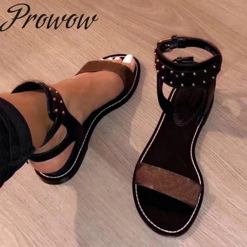 Prowow New Genuine Leather Printed Letter Summer Sandals Open Toe Metal Studded Flats Sandals Luxury