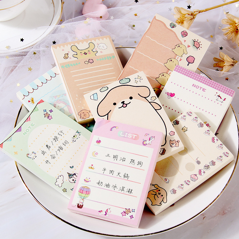 1set/lot Memo Pads Sticky Notes Cartoon Unicorn Dog Notepad Diary Scrapbooking Stickers Office School Stationery Notepad