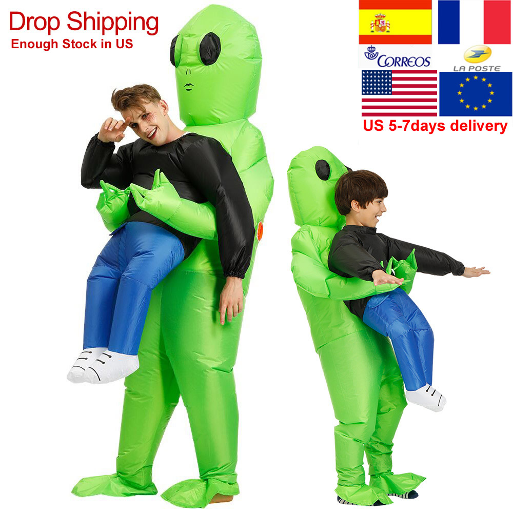 Et-alien gonflable monstre Costume effrayant vert Alien Cosplay Costume pour adulte Halloween fête Festival scène