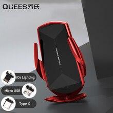 QUEES Smart Car Phone Holder bezprzewodowa ładowarka do telefonu magnetyczna ładowarka ssąca uchwyt na GPS indukcja na podczerwień akcesoria samochodowe towary