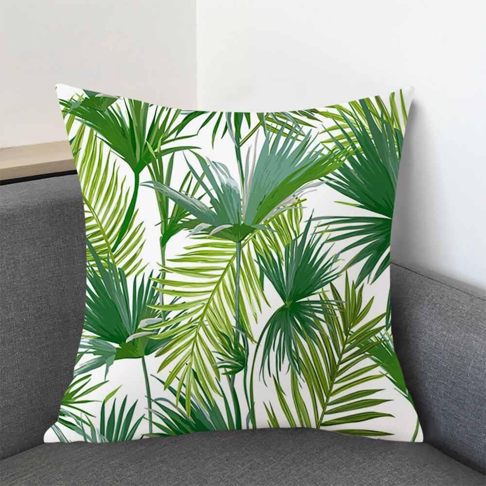 緑の葉印刷パターン枕ケース熱帯植物枕カバーポリエステル枕ケースホーム装飾クッションカバー 45 センチメートル × 45m