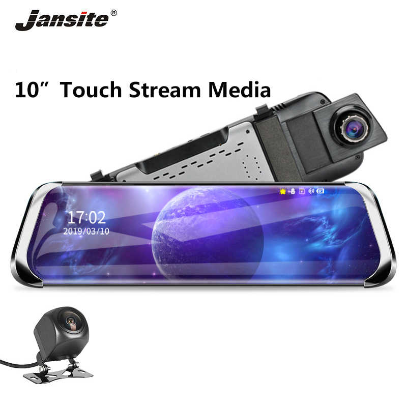 "Jansite 10"" Car DVR Touch screen Stream Media Rearview mirror Dual lens Video Recorder Dash cam with 1080P Rear camera Antishack"