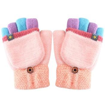 Winter Gloves Fashion Children Kids Men Women Keep Warm Sweet Knitted Convertible Flip Top Fingerless Mittens