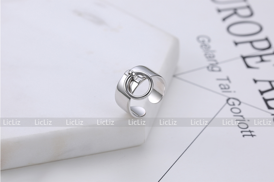 H81f9eff93f714f6cb7599a04f5791a67S LicLiz 925 Sterling Silver Open Adjustable Cuff Rings for Women Round Circle Ring Jewelry Anillos Plata 925 Para Mujer LR0323