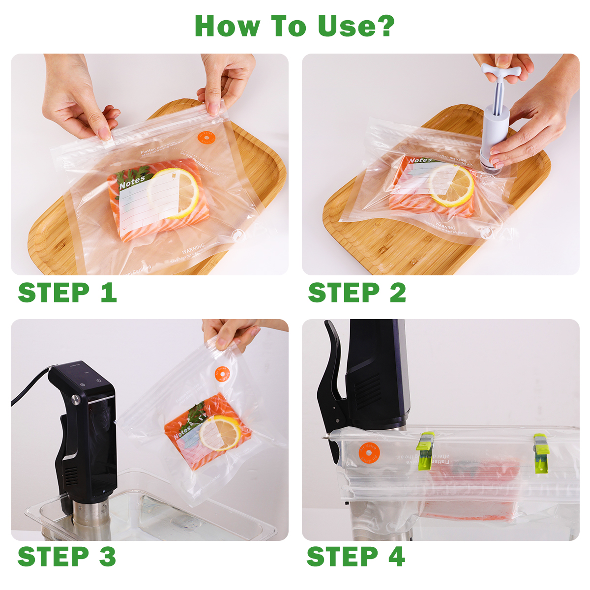 TAILI sacs réutilisables d'économie de Vide sac de stockage de nourriture sac de Compression pour garder les aliments frais et savoureux Sous Vide organisateur de réfrigérateur de cuisine 4
