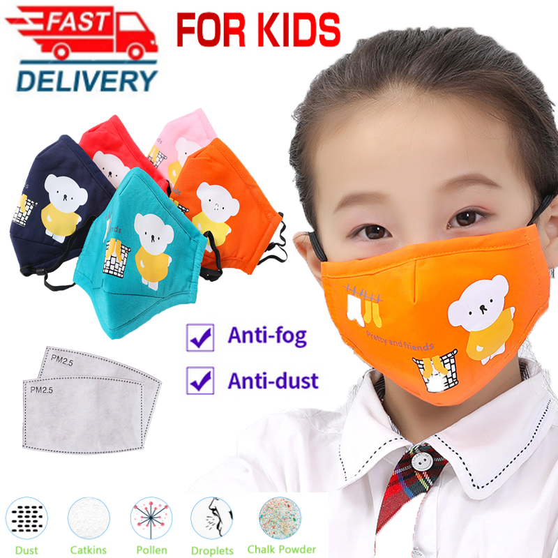 Children Cartoon Breathing Reusable Cotton Kids Mask Mouth Face Mask  Masks Maquillaje Maquiagem With Filter Paper Dropship