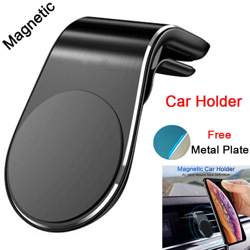 L-Shape Phone Holder Folder on Air Vent in Car Mount Stand for Xiaomi Mi 9 9T Magnetic Car Phone Holder with Metal Plate Sheets