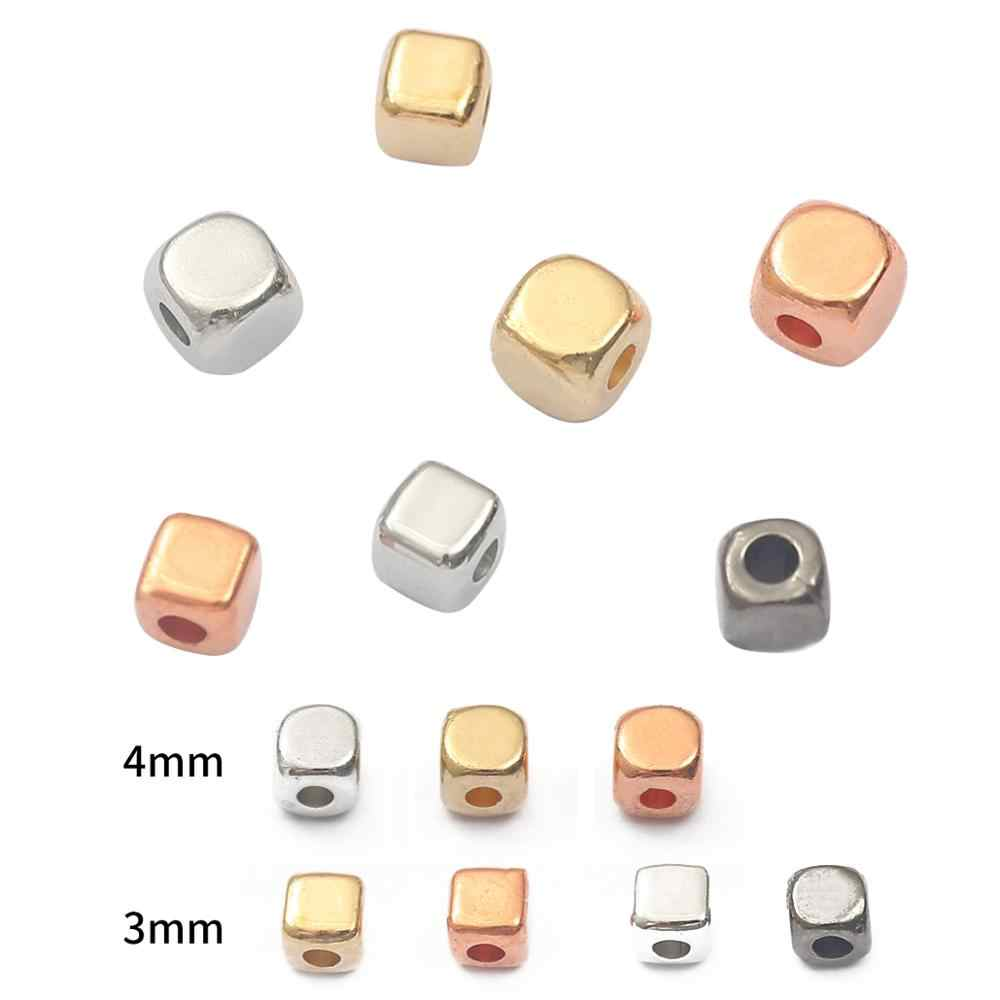200Pcs 4mm Acrylic Plated Square Seed Space Beads For Jewelry Bracelet Necklaces
