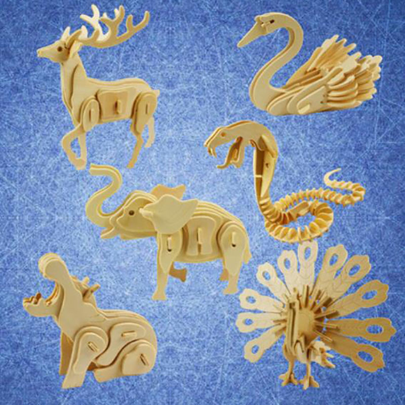 QUINEE OX 3D DIY Wooden Jigsaw Puzzle Children's Jigsaw Wooden Puzzle 3D  Puzzle Spider / Peacock / Lion / Educational Toy.
