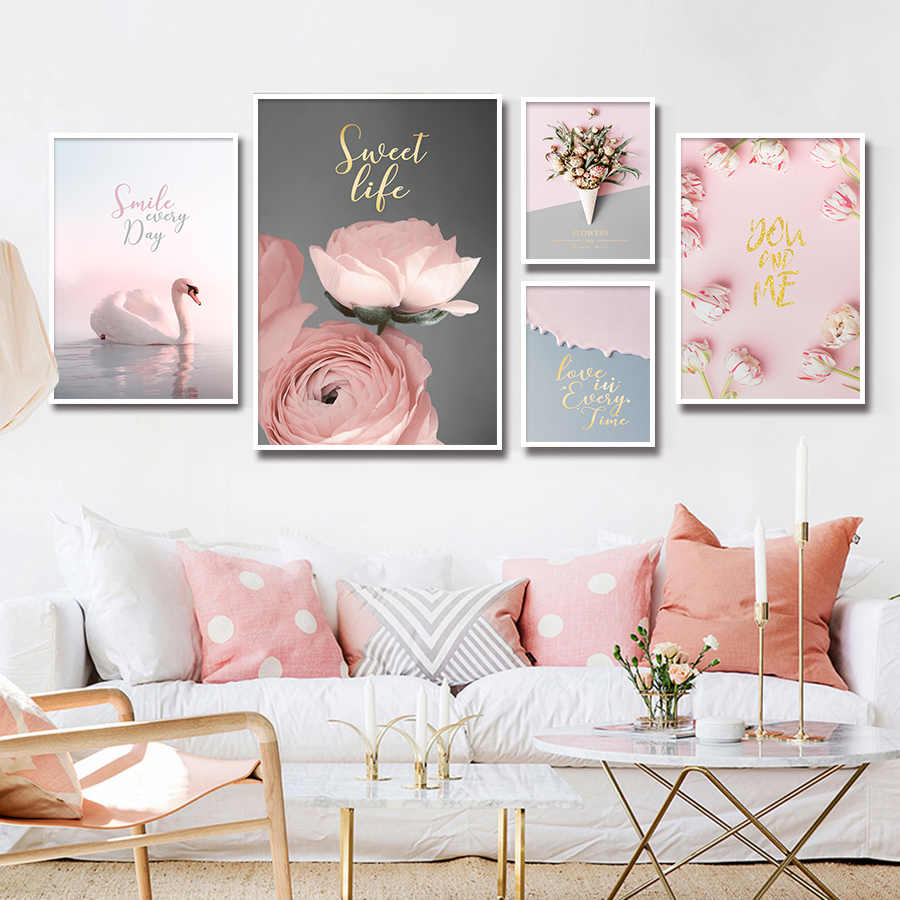 Peony Flower Wall Picture Painting Printing on Canvas Art Nordic Pink Poster Wall Paintings for Girls Living Room Pop Art Decor