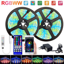 Rgbww Led Strips Lights 15M Waterdichte Diode Tape 25M 5050 Rgb Led Strip Luces Led Bluetooth App + adapter Luz Led Voor Kamer