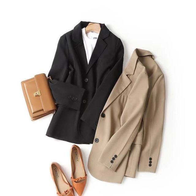 PEONFLY Women Blazer Office Jacket Ladies Fashion Single Breasted Long Sleeve Loose Coat Formal Casual For Spring Autumn 2021 5