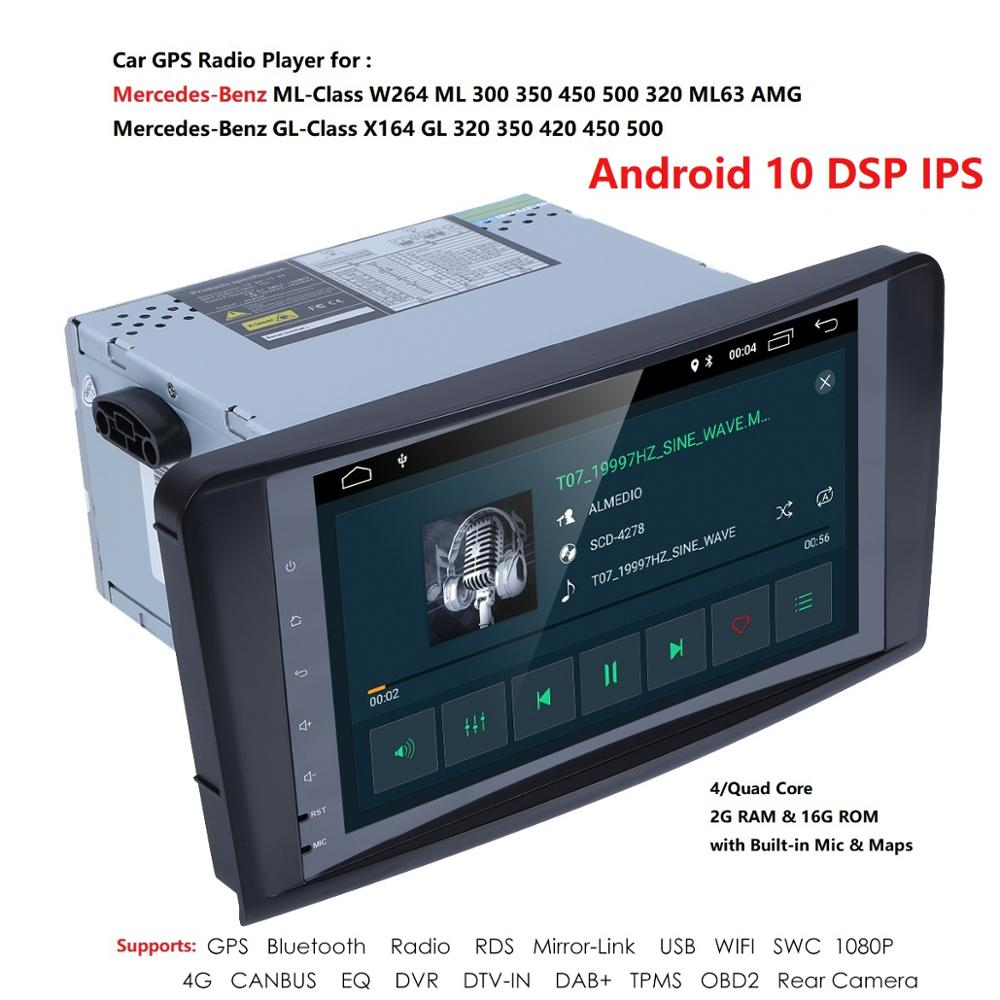 2din Car Radio gps Android 10 NO-DVD Multimedia Player for Mercedes Benz ML W164 ML300 GL X164 GL320 350 420 450 500 R DSP OBD2 image