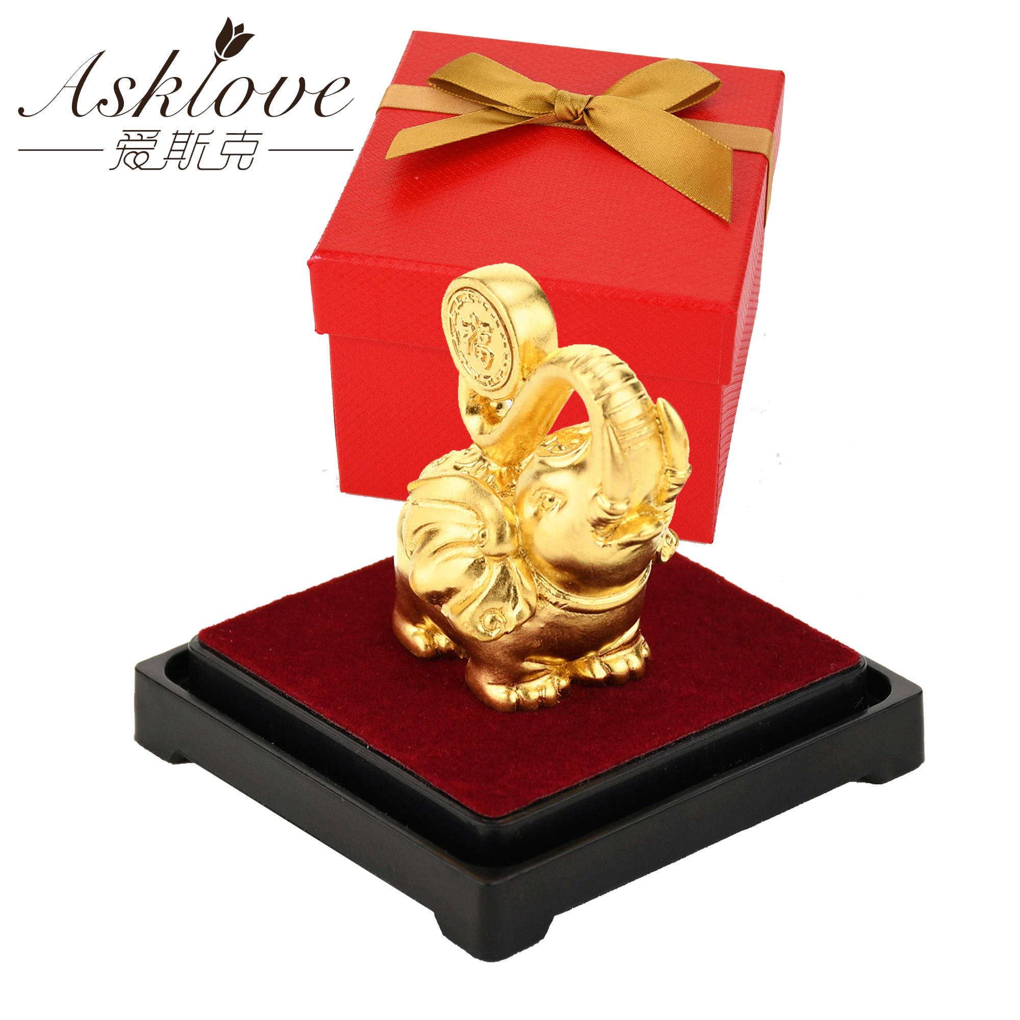 Lucky Elephant Feng Shui decor 24K Gold Foil Elephant Statue Figurine Office Ornament Crafts Collect Wealth Home Office DecorFigurines & Miniatures   -