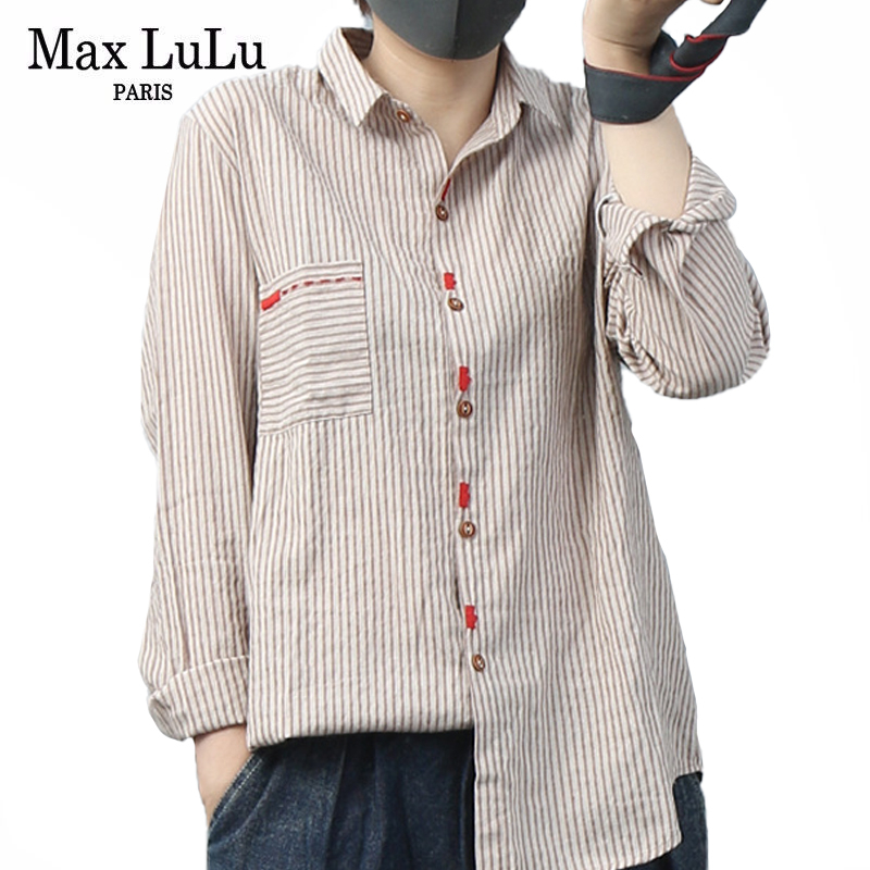 Max LuLu 2020 Fashion Chinese Designer Autumn Womens Linen Shirts Punk Pocket Tops Ladies Casual Loose Striped Blouses Plus Size