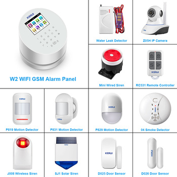 KERUI DIY Kit W2 WIFI GSM Alarm System 2.4inch Touch Panel Home Security Motion Detector Door Sensor Buglar Alarm System kerui w18 tft screen wifi gsm home security alarm system pir motion detector app control door window detector alarm system kit