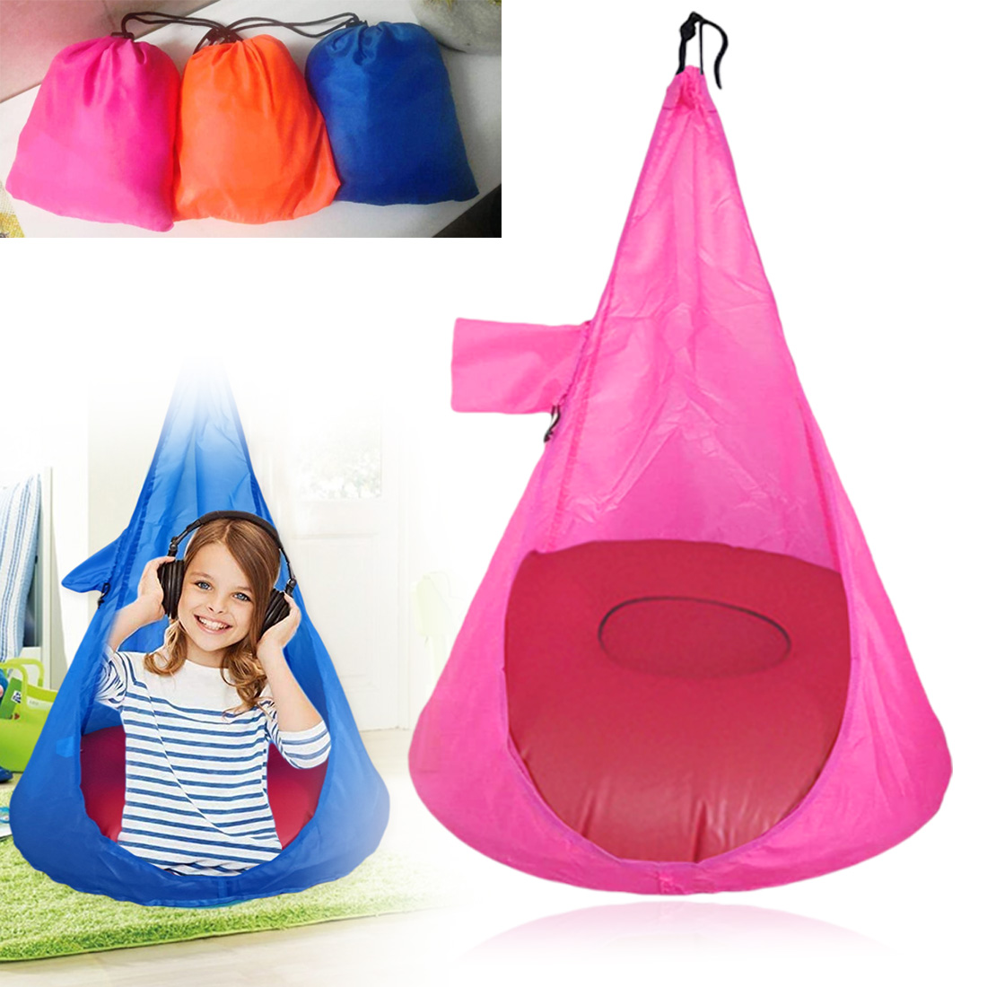 Outdoor Garden Swing Chair Hammock Chair Hanging Chair Adults Kids Polyester Hammock Hanging Rope Chair Swing Bed Camping