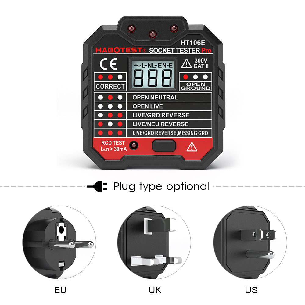 Electric Socket Tester EU / US / UK Plug HABOTEST Neutral  Earth Wire Circuit Polarity Wall Plug Breaker Electric Leakage Test