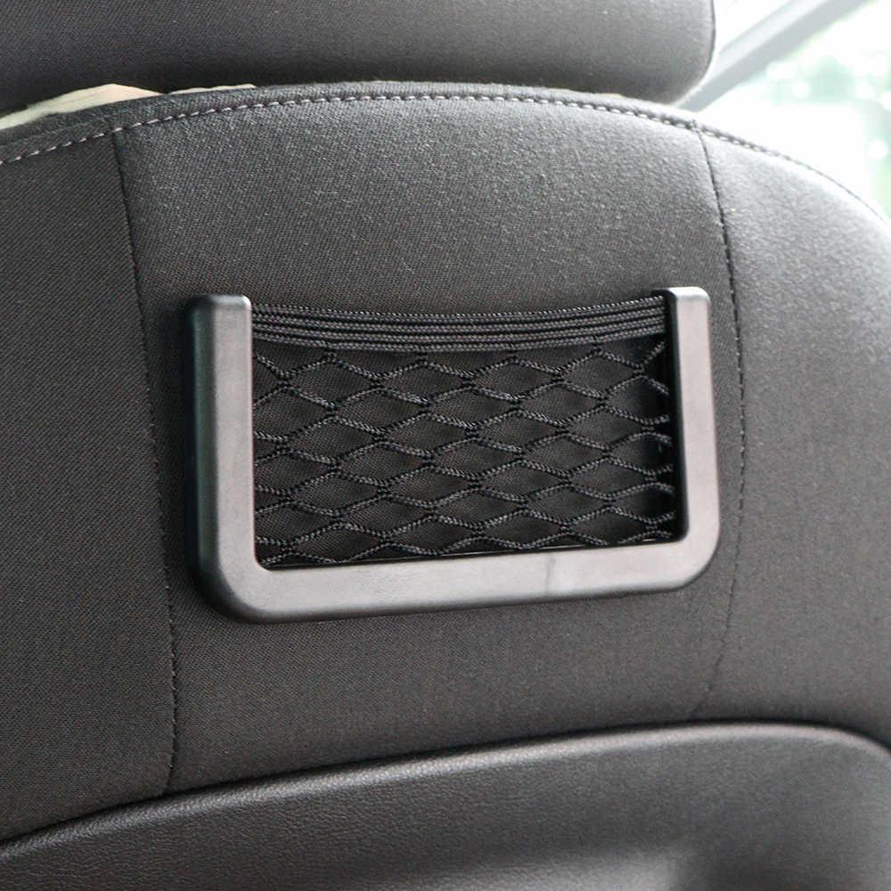 15X8cm sac automobile avec visière adhésive voiture Net organisateur poches Net pratique sac de téléphone portable pour voiture