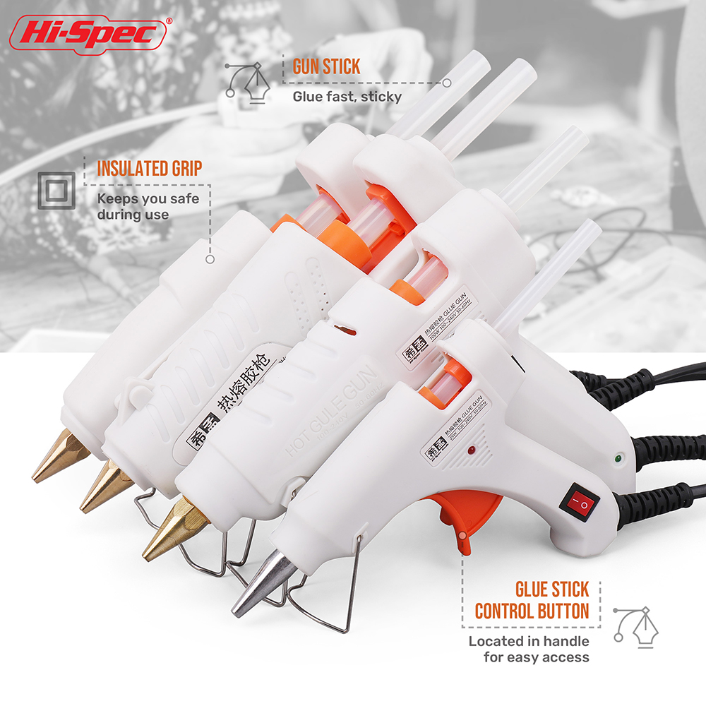 Hi-Spec 40W 80W 100W  120W 150W EU/ Plug Hot Melt Glue Gun 7mm Glue Stick Industrial Mini Guns Adhesive Woodworking Tool