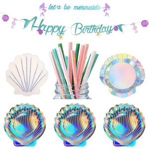 Mermaid Theme Party Tableware Mermaid Tablecloth Happy Birthday Shell Party Supplies Mermaid Shell Paper Plate Decoration