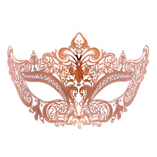 Exquisite cosplay masks Rhinestone Gold Plated Hollow Masks Masquerade Filigree Mask for Custume Party Club DC112