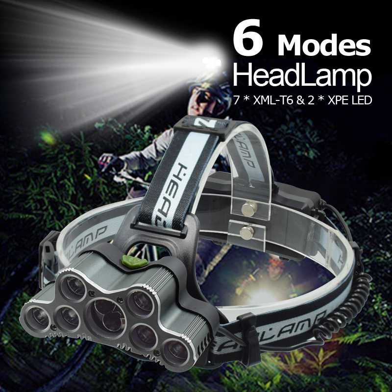 Powerful 9 LED USB Headlamp 25000 LM XML T6 Q5 LED Head Torch Forehead Light Frontal Flashlight 18650 Headlight +USB Cable