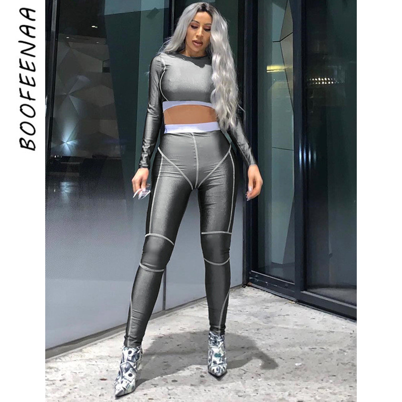 BOOFEENAA Spring 2020 Fashion Tracksuit Fitness Outfits 2 Piece Women Sets Sexy Two Piece Matching Sets Sweat Suits C16-AD01